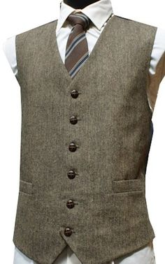 Classic Wool Handle Donegal Style Tweed Waistcoat - Brown