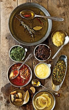 Foundations of Mediterranean Cooking by saveur: All of the following classic preparations can be made with relatively inexpensive all-purpose extra-virgin olive oils. #Mediterranean_Cooking #Sauces #Relishes