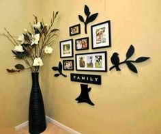 I love this idea for a wall with family pictures
