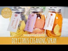 This week, Marianne's getting a jump-start on spring cleaning with this all-natural citrus counter spray. Use herbs, peels from your favorite citrus fruit an. Diy Home Cleaning, Cleaning Spray, Homemade Cleaning Products, Cleaning Recipes, Natural Cleaning Products, Spring Cleaning, Cleaning Hacks, Diy Cleaners, Cleaners Homemade