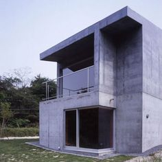 This concrete house design named The Hiedaira House, has solid architecture and absolute waterproof. Studio Design Thomas Daniell, the house in Shiga Prefecture, Japan.