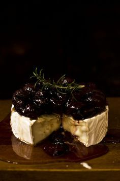 Rosemary roasted cherries with goat brie and honey