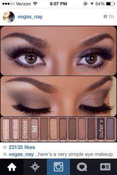 Simple eye make up from @vegas_nay using naked pallet