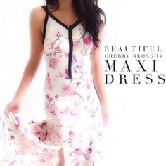 """Beautiful Cherry Blossom Maxi Dress This dress has a gorgeous cherry blossom print with sexy slits in the front, gorgeous for Spring.{actual color of item may vary slightly from photos}  •chest:16.5"""" •waist:14.5""""w •length:56.5"""" •strap:9"""" long   Material:100%polyester  ️️️️️hand wash  Fit:true/style might work for sml too Condition:no rips no stains  ❌no holds ❌no trades ♥️️bundles of 3/more items get 20% off Chelsea 28 Dresses Maxi"""