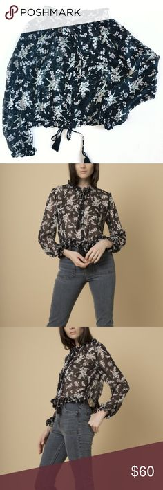 Goldie London Floral Blouse Primrose-Navy Bluebell Printed Victorian style Blouse with Tassle Ties. 100% poly. Goldie London Tops Blouses