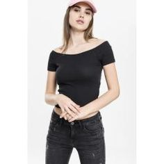 Urban Classics Ladies Off Shoulder Rib Tee black Urban Classics