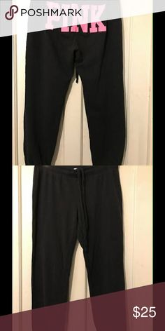 Womans Pink Victoria Secret Sweatpants It is a size small, color is black with pink on the back, it is in excellent condition, slighty worn with no holes or stains!! PINK Victoria's Secret Pants