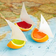 Annabel Karmel's jelly boats from Annabel's kitchen - My First Cookbook...I remember jelly oranges from my childhood- they are not as easy to make as I first thought!