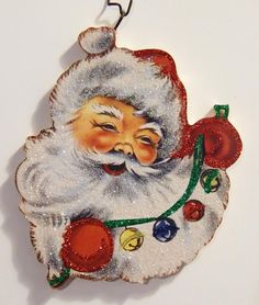 SANTA w/ COLORED JINGLE BELLS ~ Glittered CHRISTMAS ORNAMENT ~ Vtg Card Img