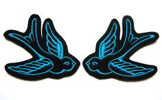 Tattoo style Pair of Turquoise swallow patches (more and custom colors available) by Dolly Cool