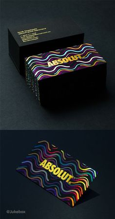 Retro Multi Foil Business Cards For Absolut - designed and produced by www.jukeboxprint.com