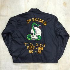 USMC Vietnam war souvenir jacket with skull and snake patch on back Marked Medium and fit like Mint condition. by mrcleanvintage Us Army Jacket, Army Patches, Clothing Labels, Vietnam War, Apparel Design, Vintage Men, Vintage Outfits, Menswear, Varsity Jackets