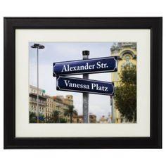 Bild - Straßenschilder mit Personalisierung ✔ originelle Wanddeko ✔ Bild mit Wunschnamen personalisiert ✔ originelles Hochzeitsgeschenk ➜ Hier online kaufen!
