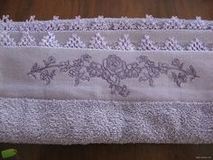 Hand towels embroidered with floral embroidery needle