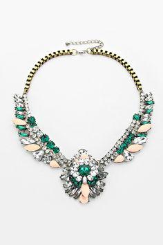 Kira Statement Necklace in Blush Emerald on Emma Stine Limited