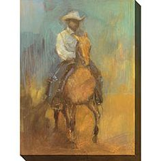 @Overstock.com - Kim Coulter 'Lone Rider II' Giclee Canvas Art - Hang this abstract giclee canvas art in your Western-themed room for an evocative focal point. Lone Rider II depicts a lone cowboy on his horse against a barren landscape that brings the spirit of the Old West to your walls in shades of gold and blue.  http://www.overstock.com/Home-Garden/Kim-Coulter-Lone-Rider-II-Giclee-Canvas-Art/3513400/product.html?CID=214117 $113.51