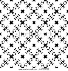 Vector seamless pattern, abstract monochrome texture with floral lattice, arabesque background. Black & white backdrop. Stylish design element for prints, decor, digital, textile, furniture, fabric