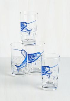 What a Piece of Quirk Glass Set in Narwhal. Showcase your flair for the eccentric with these printed glasses! #multi #modcloth