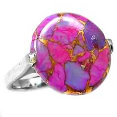 Copper Purple Arizona Turquoise 925 Sterling Silver Ring Jewelry s.7.5 PCTR1334 - JJDesignerJewelry