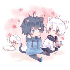 Soraru and Mafumafu Neko Boy, Chibi Boy, Cute Anime Chibi, Kawaii Chibi, Cute Anime Pics, Cute Anime Boy, Cute Anime Couples, Anime Guys, Vocaloid