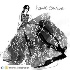 "Gidget Bowden on Instagram: ""#Repost @mekel_illustration with @repostapp. ・・・ It's my favourite fashion week in Paris right now #HAUTECOUTURE. Every dress is so beautiful, this stunner is by @giambattistapr #love #hautecouturefashionweek"""