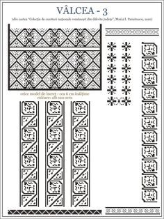 Semne Cusute: iie din Valcea, OLTENIA Folk Embroidery, Embroidery Stitches, Embroidery Patterns, Cross Stitch Patterns, Wedding Album Design, Embroidery Techniques, Learn To Draw, Hama Beads, Beading Patterns