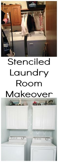 Stenciled Laundry Room Makeover by eddie