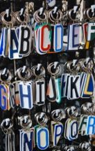 Upcycled license plate keychains