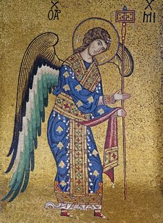 mosaic of the Archangel Michael from the Byzantine part of La Martorana, Santa Maria dell'Ammiraglio in Palermo, Sicily. Byzantine Icons, Byzantine Art, Byzantine Mosaics, Religious Icons, Religious Art, St. Michael, Saint Michael, Michael Roman, Kunst Online