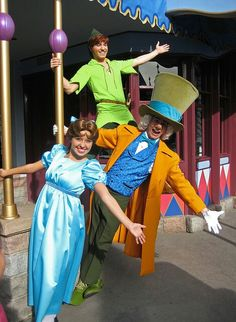 Wendy, The Mad Hatter, and Peter Pan in Disneyland. Oh look! All the people I wanted to see in one shot. Disney And More, Disney Love, Disney Magic, Disney Stuff, Disney And Dreamworks, Disney Pixar, Disney Marvel, Disney Parks, Walt Disney World