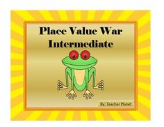 PLACE VALUE WAR-INTERMEDIATE!A fun way to learn place value to the hundred millions place!In Place Value War-Intermediate students learn to read and understand place value to the hundred millions place. This fun card game we all grew up with now comes in an educational version of Place Value War- Intermediate.To play this game, students draw a Target Place Value card.