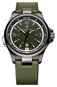 Victorinox Swiss Army Night Vision Rubber Strap Watch, 42mm LED flashlight built in!!