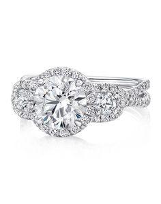 Whimsical three-stone diamond round engagement ring | Uneek lvs922-65rd | http://trib.al/qx2z9Yg