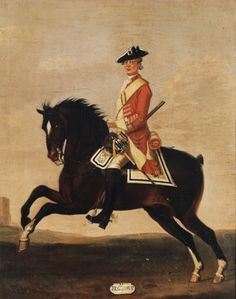 David Morier (1705?-70) Private, 11th Dragoons, 1751 c. 1751-60 Oil on canvas   51.3 x 40.7 cm (support, canvas/panel/str external)   RCIN 401513