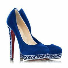 Comprar Christian Louboutin Eugenie Suede Pumps Azules de moda y de alta calidad