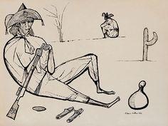 nanquim s/ papel, ass. e dat. 1954 inf. dir.  54 x 72 cm