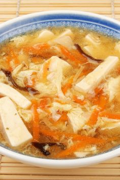 hot and sour soup 3c chick broth 1⁄2c water 2c fresh mushrooms, sliced 1⁄2c sliced bamboo shoots, drained 3 slice fresh ginger root 2 clove garlic, crushed 2tsp soysauce 1⁄ tsp redpepper flakes 1 lb skinless, boneless, halves cut into thin strips 1T sesame oil 2 green onion, chopped 1⁄4c fresh cilantro, chopped (optional) 3T red wine vinegar 2T corn starch 1 egg, beaten..