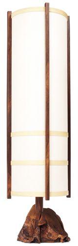"""George Nakashima floor lamp, walnut base with original rag paper shade, signed on base """"George Nakashima July 1976""""16.5""""dia. x 58.75""""h"""