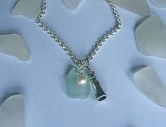 Aqua Sea Glass Necklace with Silver Lighthouse
