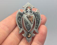 STUNNING RARE ANTIQUE VICTORIAN SCOTTISH AGATE GRANITE SILVER SHIELD BROOCH PIN in Jewellery & Watches, Vintage & Antique Jewellery, Vintage Fine Jewellery   eBay