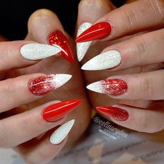 Red and White Ombre Christmas Inspired Stiletto Nails