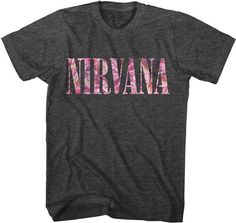 Nirvana Flower Logo T-shirt - Vintage look - super soft comfy 50/50 cotton poly blended fabric - http://www.band-tees.com/store/N_00400_280!FEA/Nirvana+Floral+Logo+T-shirt