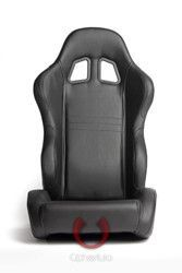 All Black Leatherette Cipher Auto Racing Seats - Pair