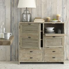 French style sideboard with rustic elements and wire lamp