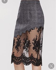 Shop Grey Plaid Embroidered Mesh Trim Slit Back Skirt online. SheIn offers Grey Plaid Embroidered Mesh Trim Slit Back Skirt & more to fit your fashionable needs. Fashion 101, Love Fashion, Fashion Design, Skirt Outfits, Dress Skirt, Hijab Stile, Dress Sewing Patterns, Plaid Skirts, Pretty Outfits