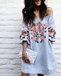 """4,670 Likes, 22 Comments - LIKEtoKNOW.it (@liketoknow.it) on Instagram: """"Step up your shift game with chic embroidery and a breezy off-the-shoulder fit a la @stylinbyaylin…"""""""