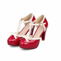 Carolbar Cute Women's Sweet Fashion Buckle Bows T-strap Assorted Colors Lolita Platform High Heel Sandals (8.5, Red)