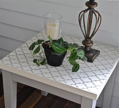 The Chronicles of Home: {DIY} Moroccan Tile Stenciled Table