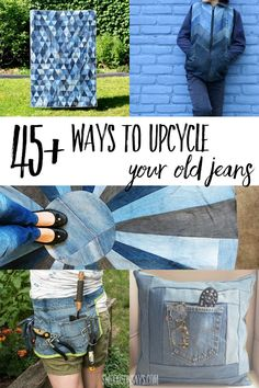 Check out these creative denim upcycle ideas! Lots of easy inspiration for ways to upcycle old jeans and beginner sewing tutorials for using up denim. Quilt Tutorials, Sewing Tutorials, Sewing Projects, Sewing Hacks, Sewing Crafts, Diy Projects, Star Quilt Patterns, Sewing Patterns, Denim Rug
