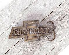 Vintage 1970s Chevrolet Belt Buckle, Mens Belt Buckle,